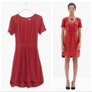 Madewell Silk Cinched Waist Dress Red
